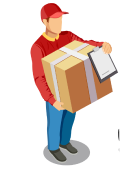 Delivery guy holding box